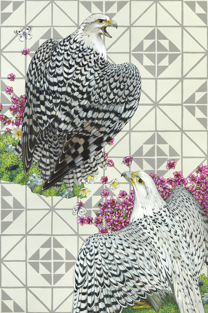 , 'Gyrafalcons on Gray,' 2015, BoxHeart