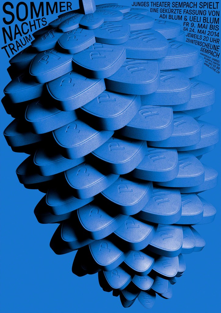Studio: Erich Brechbühl [Mixer] Sommernachtstraum [Midsummer Night's Dream] Client: Junges Theater Sempach. Technique: Screen printing. Print: Serigraphie Uldry AG, Hinterkappelen/Bern. Switzerland © Erich Brechbühl [Mixer]/100 Beste Plakate e. V.