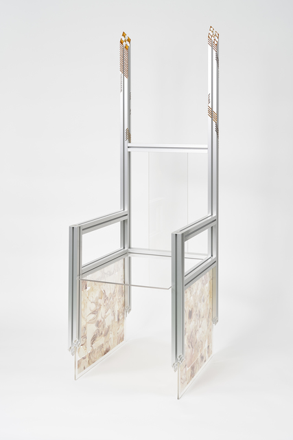 Elliott Jun Wright, 'Huanghuali Chair I', 2019, Sculpture, Anodized aluminum, inkjet on Suminagashi paper, acrylic, Empty Gallery