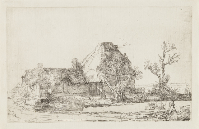 , 'Cottages and Farm Buildings with a Man Sketching,' 1641, Galerie d'Orsay