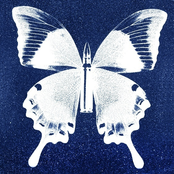 Rubem Robierb, 'Silver Butterfly on Blue', Print, Hand painted silkscreen and diamond dust on canvas, Art Angels