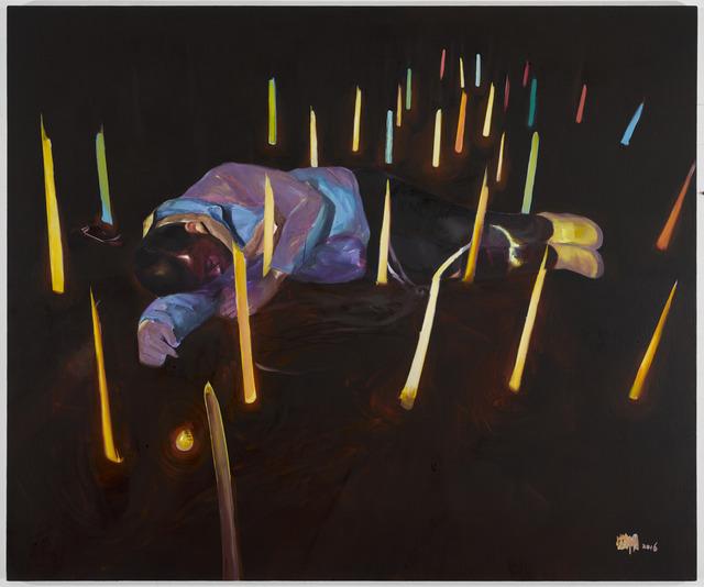 , 'Self portrait lying on the ground,' 2016, Edouard Malingue Gallery