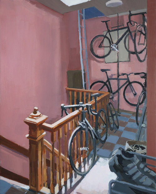 Aaron Hauck, 'Entry Bikes', 2018, Painting, Oil on panel, Deep Space Gallery