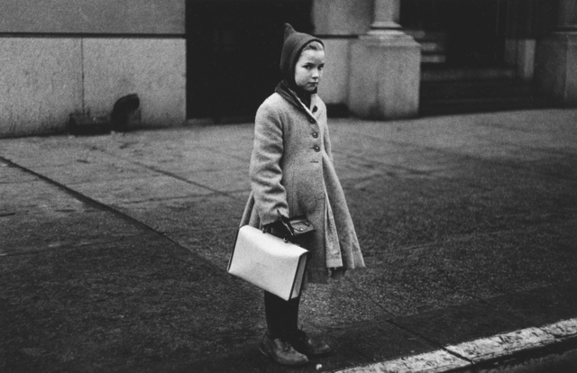 , 'Girl with a pointy hood and white schoolbag at the curb, N.Y.C. ,' 1957, San Francisco Museum of Modern Art (SFMOMA)