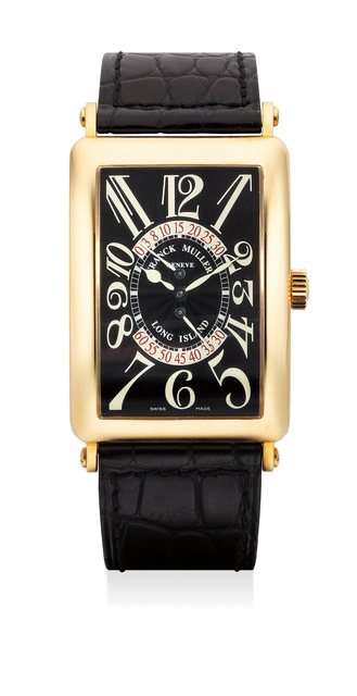 Frank Muller, 'An attractive yellow gold wristwatch with retrograde seconds, power reserve indication, certificate and Box', Circa 2002, Phillips