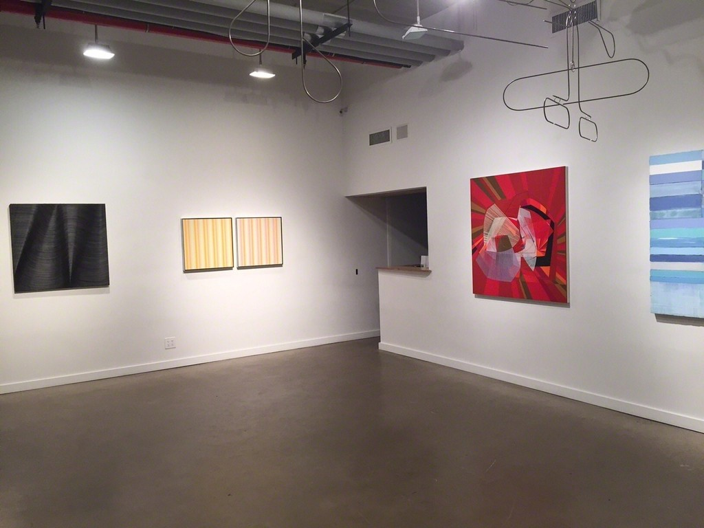 Paintings from left: James Austin Murray, James Little, Alex Couwenberg, Mark Zimmermann. Ceiling sculpture by Rodger Stevens