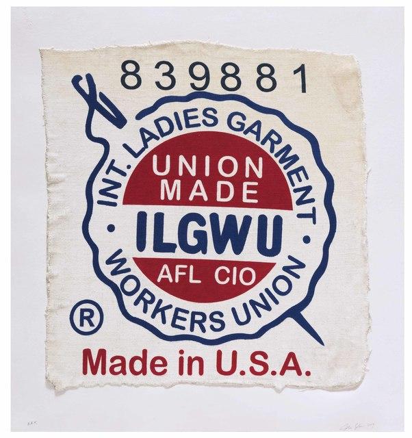 Analia Saban, 'International Ladies Garment Workers Union, Made in USA, Clothing Tag', 2019, Mixografia