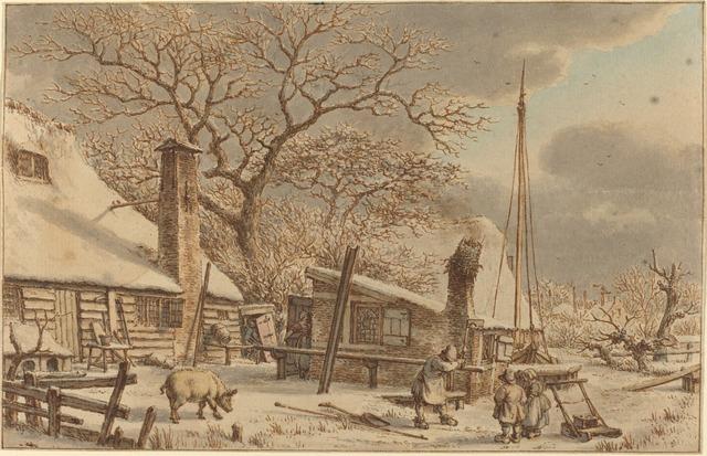 Jacob Cats, 'Farmyard in Winter', 1786, National Gallery of Art, Washington, D.C.