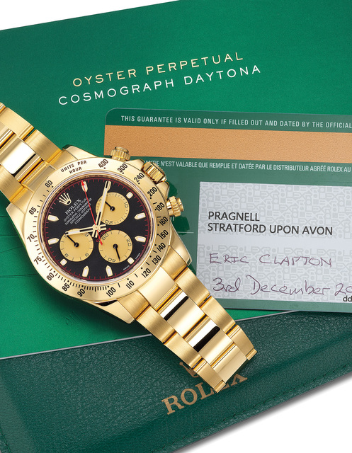 Rolex, 'A very fine and attractive yellow gold chronograph wristwatch with guarantee. Formerly part of the collection of Eric Clapton', Circa 2014, Phillips