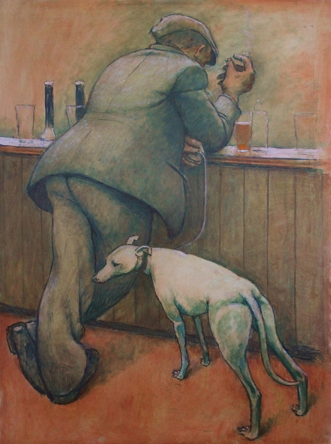 , 'Man at bar with dog on lead,' ca. 1965, Castlegate House Gallery