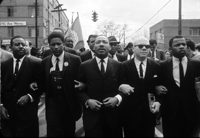 , 'Martin Luther King Marching for Voting Rights with John Lewis, Reverend Jesse Douglas, James Forman and Ralph Abernathy, Selma, 1965 ,' 1965, Monroe Gallery of Photography