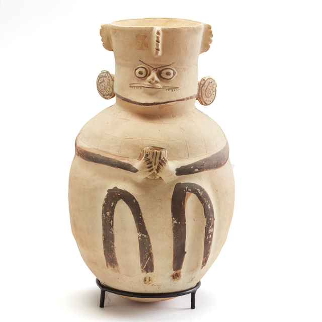 , 'Chancay Brown & White Urn (Face with Wry Smile),' c. 1000 -1425 AD, Stuart & Co. Gallery
