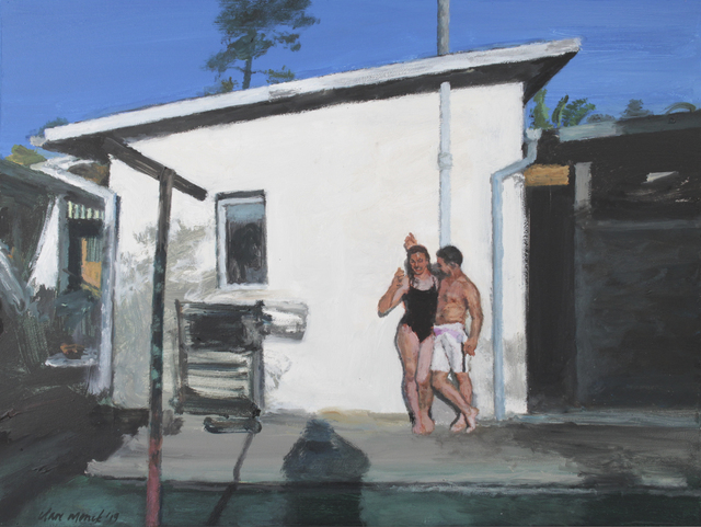 , 'Bather couple in a back yard,' 2019, 99 Loop Gallery