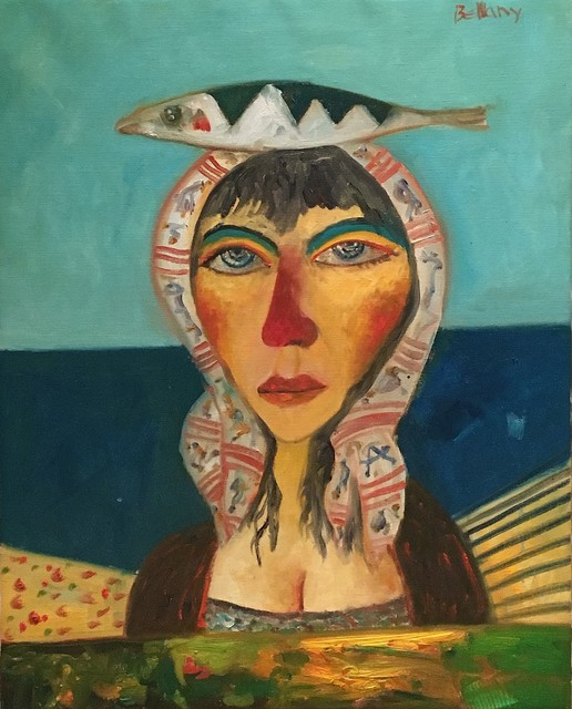 , 'Woman with headscarf and fish,' , Castlegate House Gallery