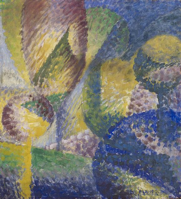 Enrico Prampolini, 'Sensazione cromatica di giardino', 1914, Painting, Mixed media on cardboard, Il Ponte