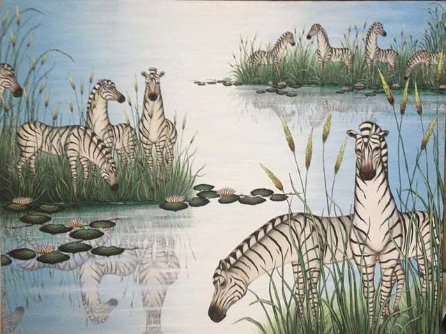 Gustavo Novoa, 'By The Pond', c.1990's, Painting, Acrylic Paint, Canvas, Lions Gallery