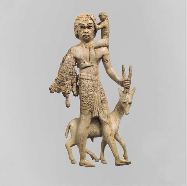 Unknown Assyrian, 'Statuette of a man with an oryx, a monkey, and a leopard skin', ca. 8th century B.C., The Metropolitan Museum of Art