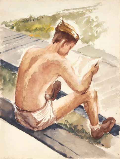 , 'Training in Florida, Soldier Reading Letter,' 1943, Betty Cuningham
