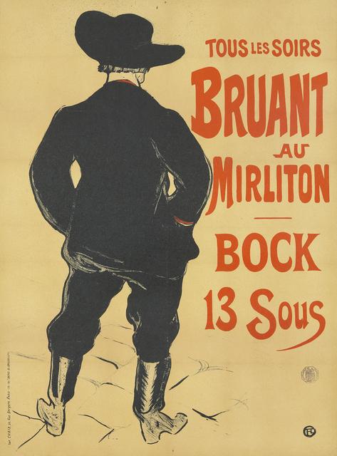 , 'Bruant au Mirliton / Bock 13 Sous,' 1893, Rennert's Gallery