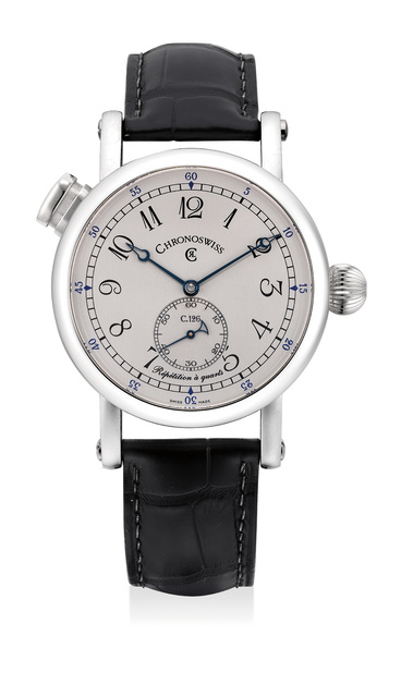 Chronoswiss, 'A fine platinum quarter repeater wristwatch with guarantee and box', Circa 2015, Phillips