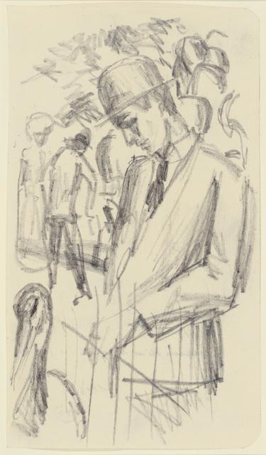 , 'Mann beim Kranich im Zoo,' 1913, Thole Rotermund