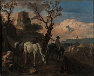 Military Encampment with Foreground Figures at Rest