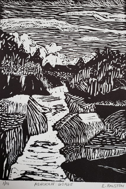 Elaine Ralston, 'Ashokan Gorge', 2020, Drawing, Collage or other Work on Paper, Lino cut, Emerge Gallery NY