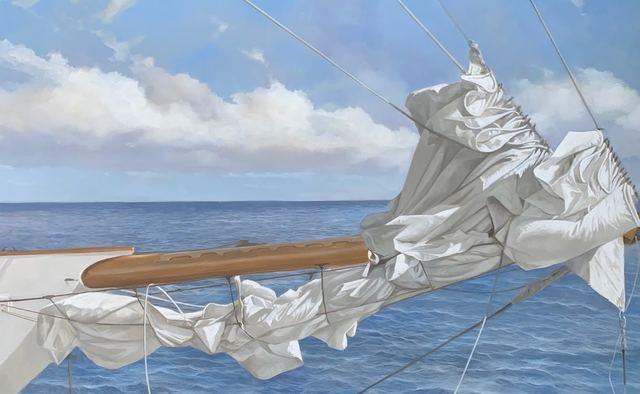 "Michel Brosseau, '""Tied at Sea"" photorealistic oil painting of a folded sail and blue ocean', 2019, Eisenhauer Gallery"