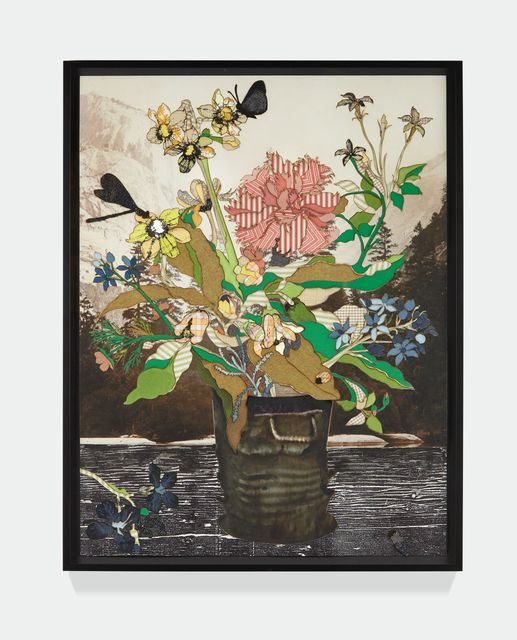 Matthew Day Jackson, 'Bouquet in a Glass Vase (Amsterdam)', 2018, Mixed Media, Textile, silkscreen, watercolor, woodblock print, pigment print on paper, Para Site Benefit Auction