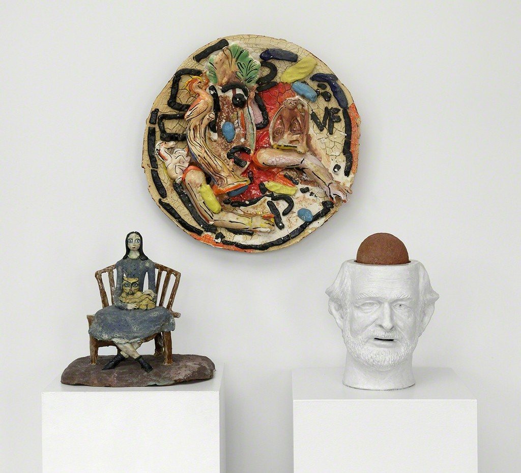 Works by Beatrice Wood (left), Viola Frey (center), and Robert Arneson (right). (Photo by John Polak.)