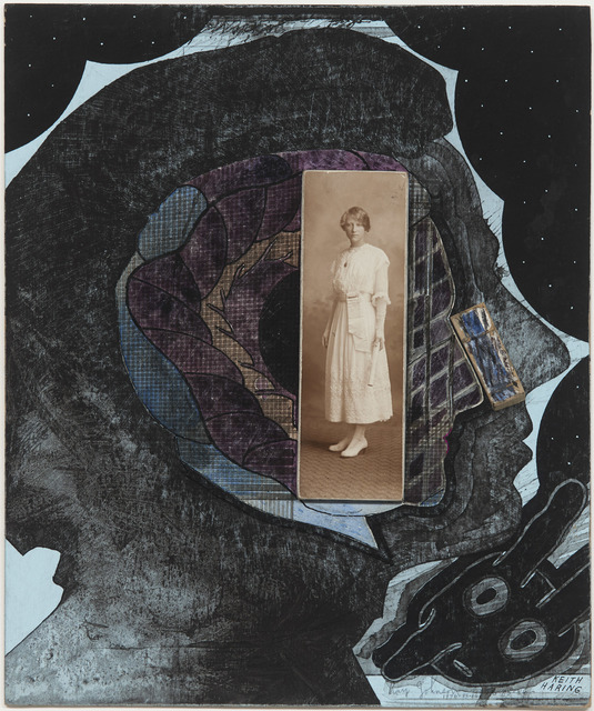 Ray Johnson, 'Untitled (Andy Warhol with photo early 20th century woman)', 20th Century, DICKINSON