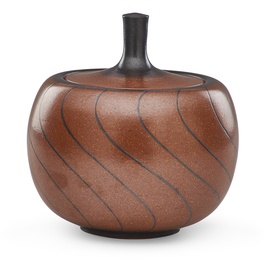 Covered pumpkin-shaped jar with curving lines, Claremont, CA