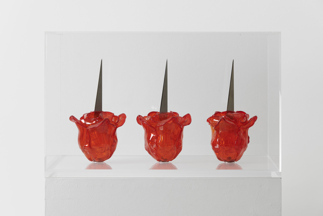 Renate Bertlmann, 'Venice Rose (triptych)', 2019, Sculpture, 3 handblown Murano glass roses with metal blades, Richard Saltoun