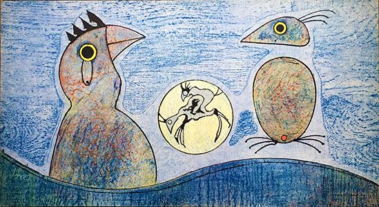 Max Ernst, 'Oiseaux (blue background)', 1970, Fairhead Fine Art Limited