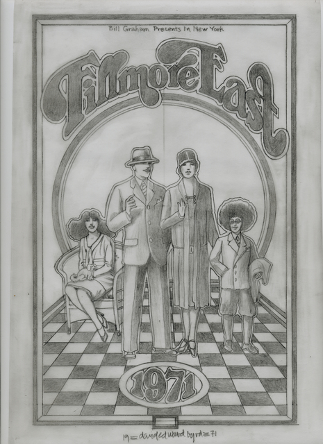 """David Edward Byrd, '""""The Original Fillmore East pencil drawing for the 1971 Program """"', 1971, ARDT Gallery"""