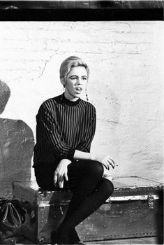 , 'Edie Sedgwick on Billy's silver trunk on the set of Prison,' 1965, Milk Gallery