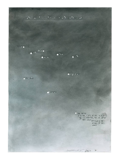 Melissa McGill (b. 1969), 'Major stars in the river Constellation (a rough map)', 2016, Drawing, Collage or other Work on Paper, Pastel on typewritten paper, in collaboration with Sam Anderson, TOTAH