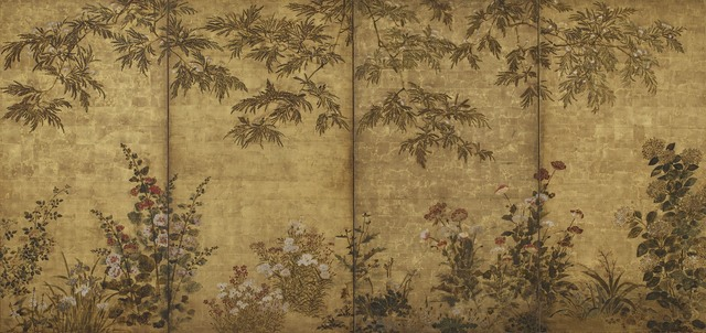 , 'Mimosa Tree, Poppies and Other Summer Flowers. Sōtatsu school, I'nen seal.,' 1630-1670, Smithsonian Freer and Sackler Galleries