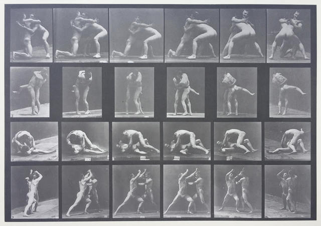 , 'Plate 520. A, 98 and 100 wrestling; B, 98 and 100, wrestling; C, 99 and 101, wrestling; D, 99 and 101 sparring without gloves.,' 1887, Laurence Miller Gallery