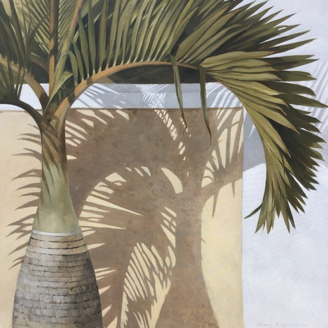 ", '""Bottle Palm"" oil painting of green palm leaves with a shadow behind,' 2019, Eisenhauer Gallery"