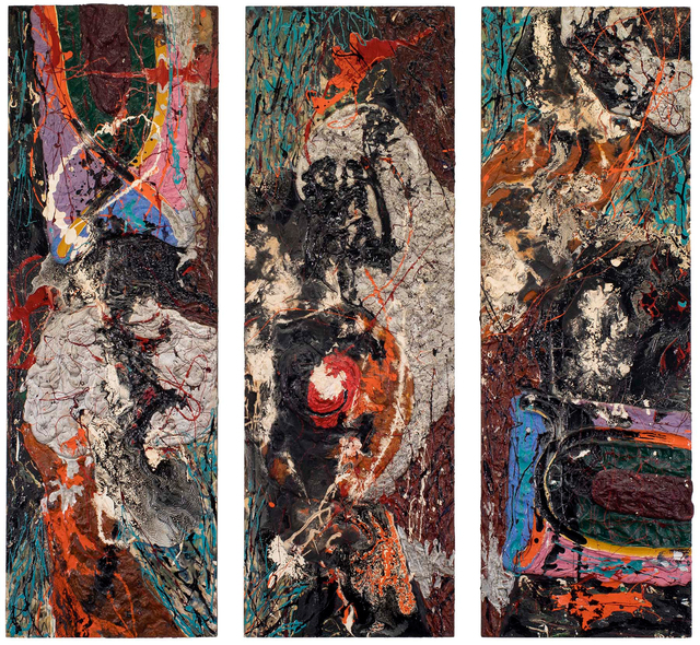 Alfonso Ossorio, 'Triduum', 1959, Painting, Oil, enamel and plaster on three panels, Michael Rosenfeld Gallery