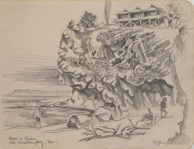 , 'Beach at Guam with Recreation Party, Nov 1,' 1944, Edward Cella Art and Architecture
