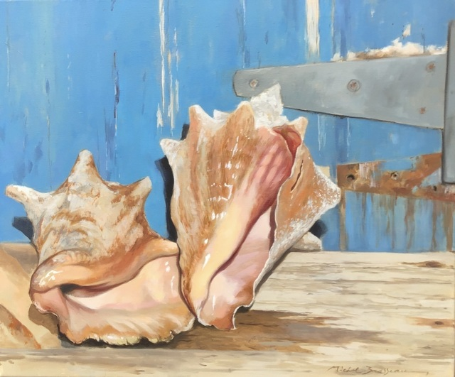 ", '""Conched Out"" oil painting of pink conch shells in front of a blue door,' 2019, Eisenhauer Gallery"