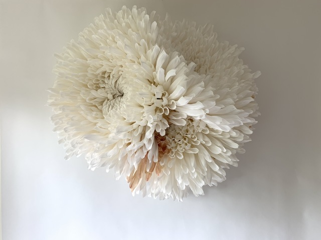 Tiffanie Turner, 'Three Chrysanthemums', 2020, Sculpture, Paper mâché, Italian crepe paper, glue, stain, wire, wood rods, Eleanor Harwood Gallery