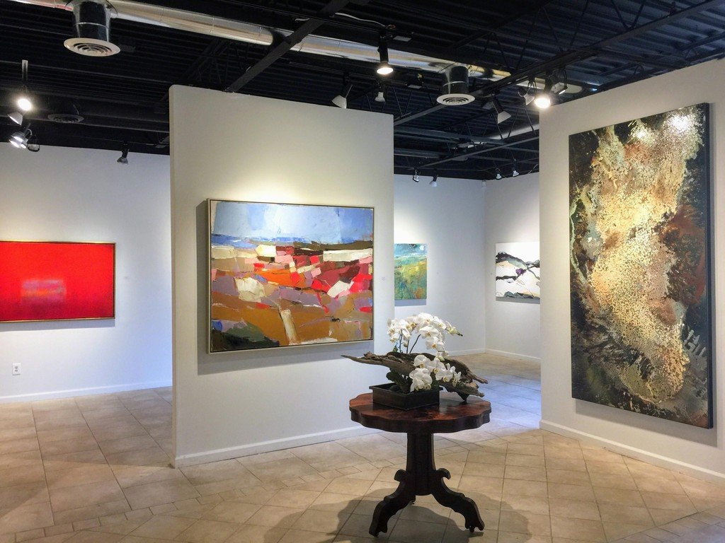 Signs of Spring Exhibition. Pictures (L-R): Scott Upton, Passion and Pleasure, 36 x 60; Cathryn Miles, Rocks in the Sun, 48 x 60; Paul Tamanian, Champagne Dream, 48 x 92; background, partially visible, works by Cathryn Miles and Chris Dolan