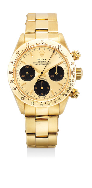 Rolex, 'A very attractive and rare yellow gold chronograph wristwatch with gold dial and bracelet', 1984, Phillips
