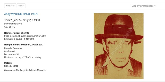 Andy Warhol, 'Joseph Beuys', ca. 1980, Painting, Screenprint or silkscreen on fabric., MultiplesInc Projects