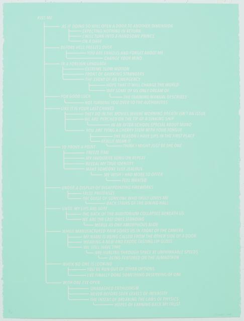 , 'Kiss Me Flow Chart (Aqua),' 2016, K. Imperial Fine Art