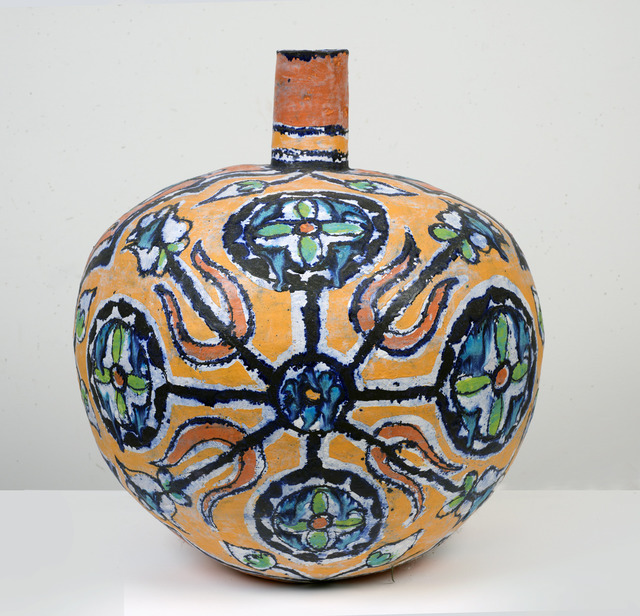 , 'Large Round Gold and Red Bottle with Trident Leaves,' 2013, SEASON