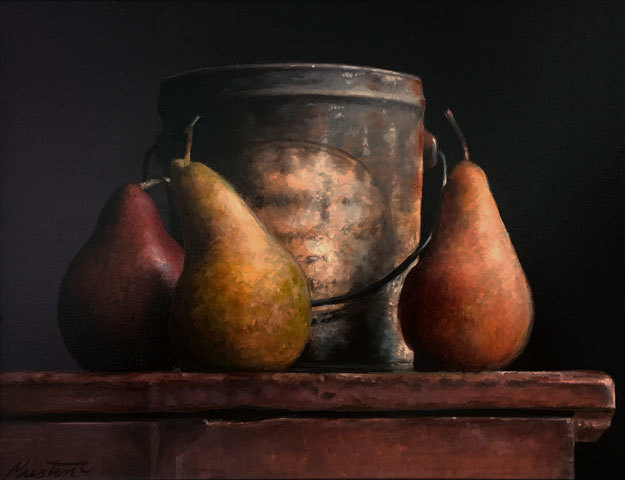 , 'Pears with Tin,' 2018, William Baczek Fine Arts